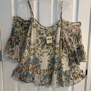 NWT Large Lucky Brand Cold Shoulder Peplum Blouse